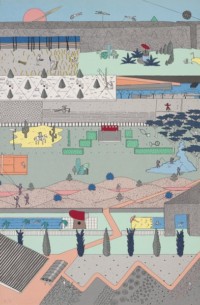 Alex Wall, Office for Metropolitan Architecture (OMA), The Pleasure of Architecture, 1983. Poster based on competition drawings for Parc de la Villette, Paris, 1982–83.  Photo 4 of 8 in Early Drawings by Famous Architects