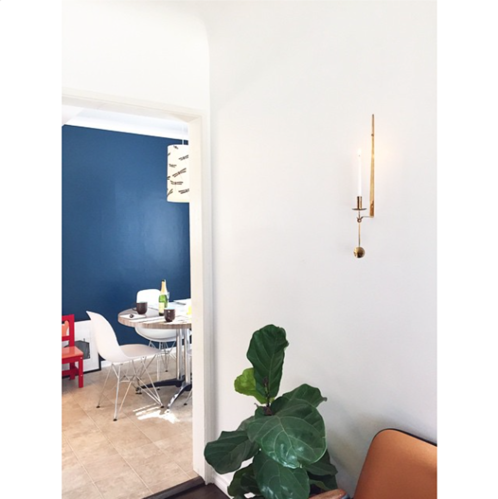 """@laneylainc: """"Our home studio is now accented by a lovely candle from Skultuna.""""  Photo 10 of 15 in Get Ready For July 4th With 15 Spaces That Rock Red, White, and Blue from Photos of the Week: Blue Walls Galore!"""