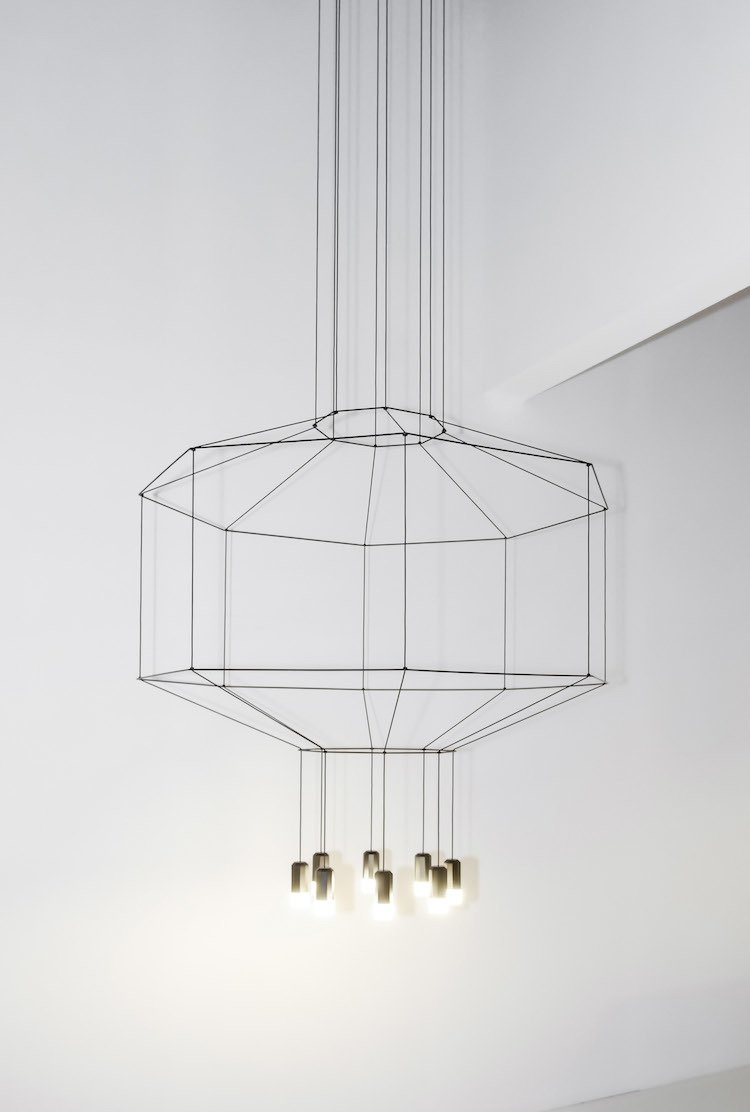 Utilizing lightweight LED technology, Arik Levy's Wireflow pendant lamps are an airy, geometric take on lighting design.  60+ Modern Lighting Solutions by Dwell from How Technology Informs the Craft Revolution