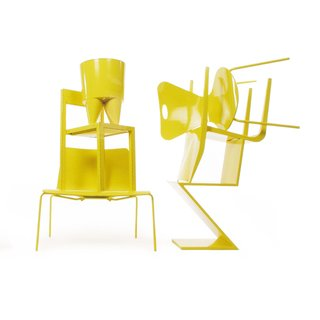 A collection of furnishings painted in Sunshine, the inaugural colorway she forecasted for Moooi in 2002 as part of a longtime collaboration with the Dutch brand.