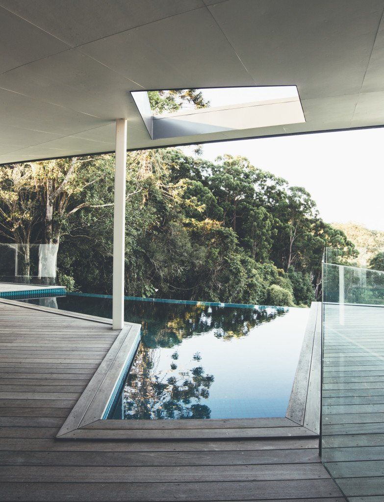 Outdoor, Small, Wood, Large, Trees, and Infinity The geometric pool also captures views of the lush landscape.  Best Outdoor Small Infinity Photos from Modern House Captures Panoramic Views in Australia