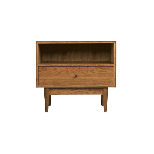 Grove nightstand in walnut by Room & Board, $599  Forget veneer: the Grove is crafted in Pennsylvania from from solid wood. We like that the midcentury lines don't veer into slavish interpretation.  Editors' Essentials: 5 Perfect Nightstands by Kelsey Keith