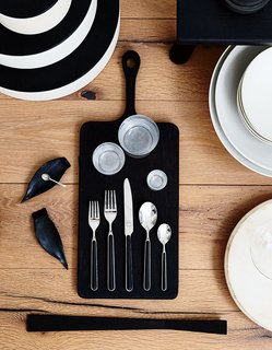 Among the store's wares is the Fantasia black flatware set.