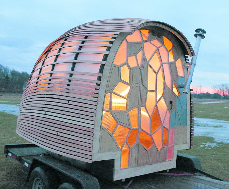 OTIS, Lucas Brown/Green Mountain College, 2013  Professor Lucas Brown realized this tiny house, which can be towed on a standard trailer behind any four-cylinder car, with help from students at Green Mountain College in Vermont. A rainwater system and single solar panel power the teardrop-shaped transportable.  Seriously Tiny (and Slightly Strange) Hangouts That Push the Limits of Micro-Living by Luke Hopping