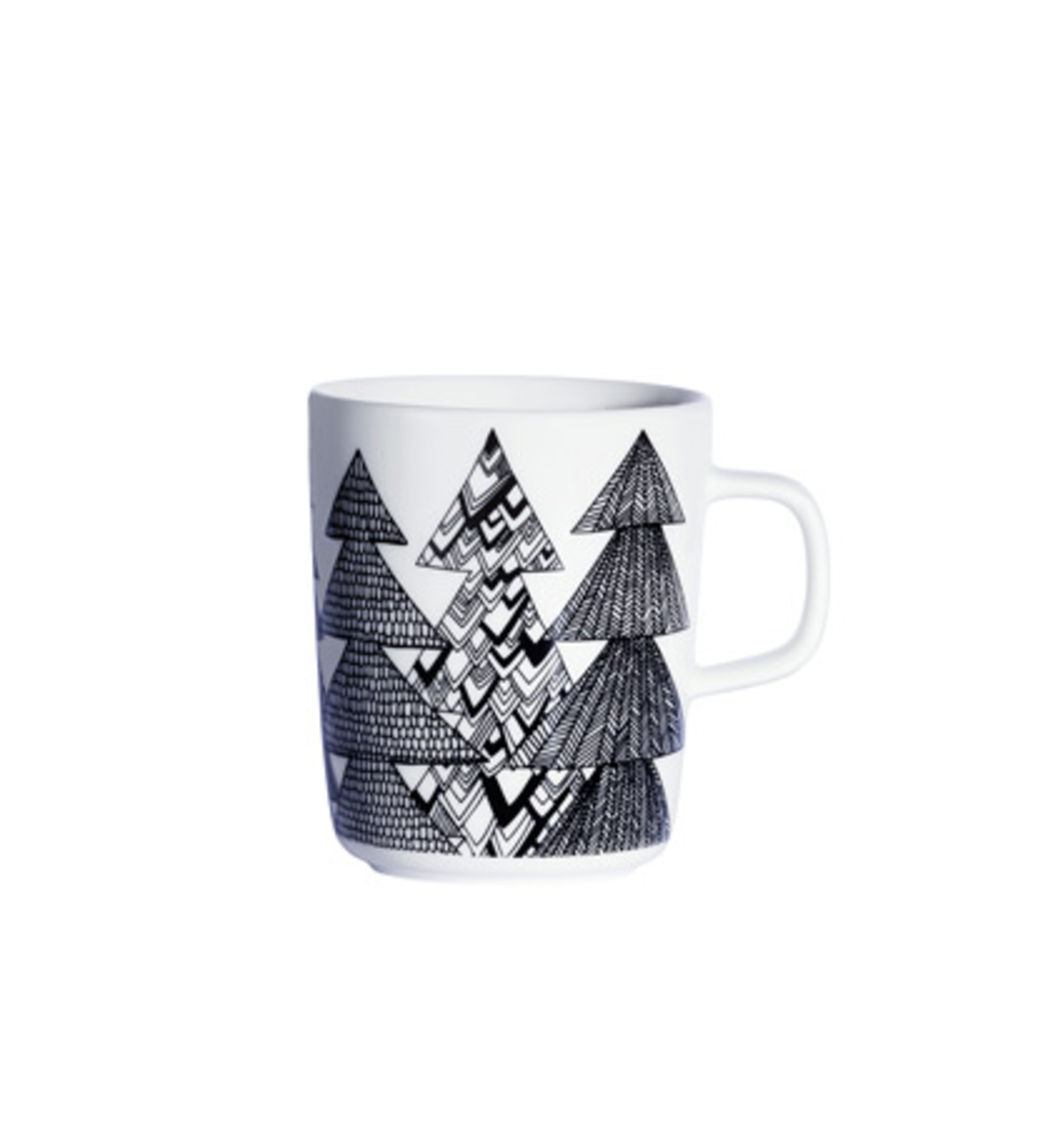 """Sami Ruotsalainen designed this mug as part of the Oiva dinnerware collection created just for Marimekko. The simple, clean shape will inspire fresh conversation at your table and the design conjures Christmas trees. Made with hard, glazed porcelain, it has a long lifespan and a color that won't fade or wear off.  Search """"jansen co my mug espresso saucer"""" from We Wish You a Marimekko Christmas"""