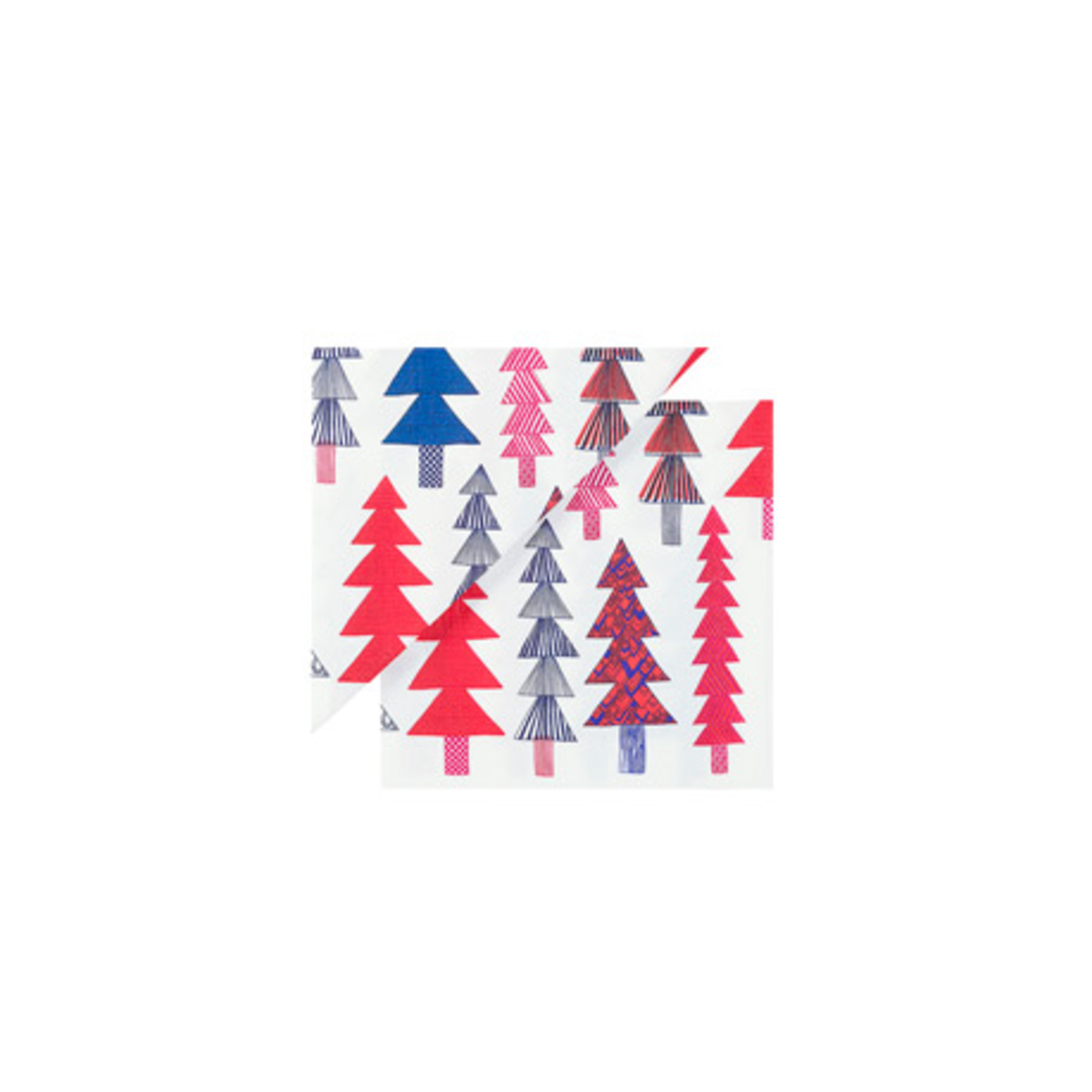 """Serve with festive color. These bold paper napkins bring an eye-catching Christmas tree detail to your holiday table setting.  Search """"norm lunch plate"""" from We Wish You a Marimekko Christmas"""