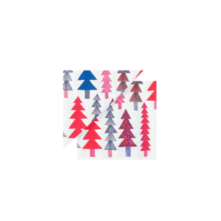 Serve with festive color. These bold paper napkins bring an eye-catching Christmas tree detail to your holiday table setting.