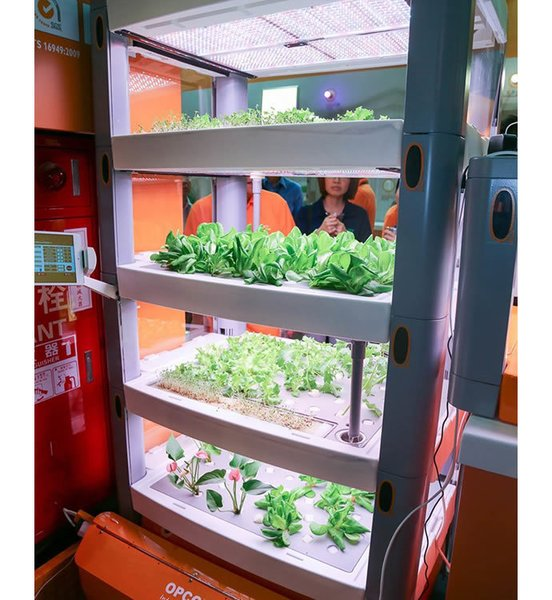 Perfect for urbanists with green thumbs, Opcom's modular hydroponic farm comes equipped with sensors and a panoramic camera for tracking temperature, humidity, and water quality. Users can tinker with these variables from their smartphone or tablet.