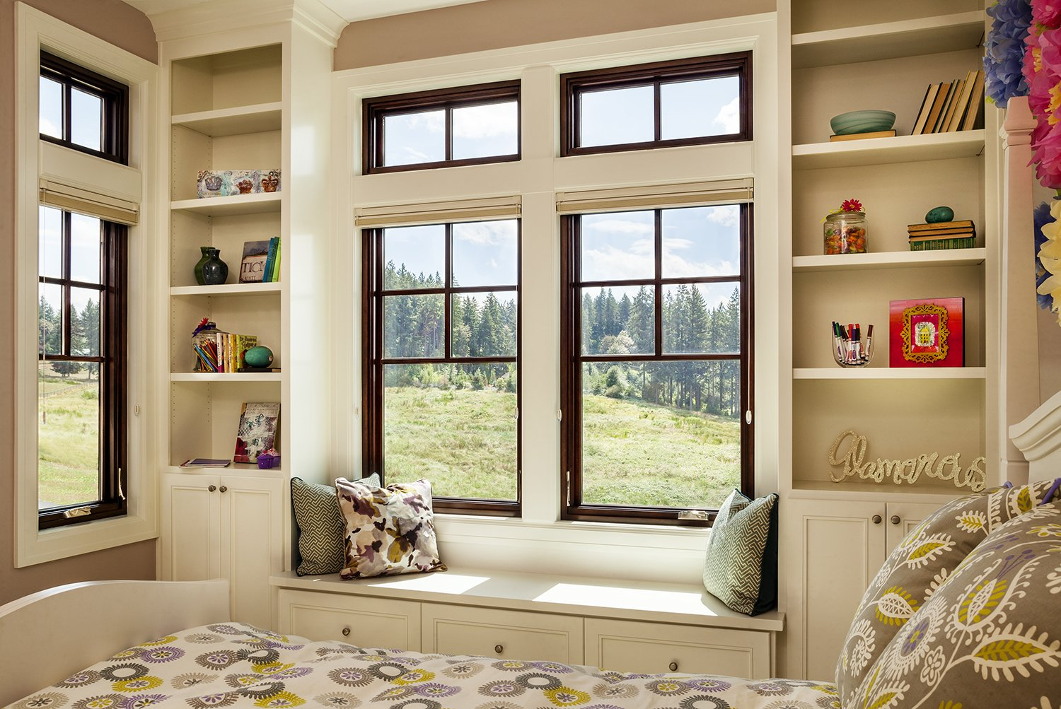 Milgard Essence Series® windows are available in a wide variety of obscure glass patterns, and for spaces that demand serenity, laminated glass is especially proficient at noise attenuation.  Shining Examples of Clerestory Windows by Luke Hopping from The Window Series That Matches Performance, Appearance, and Ease-of-Use