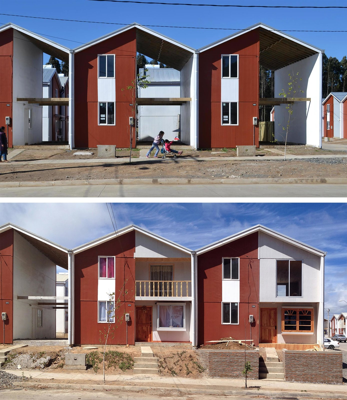 "Villa Verde Housing in Constitución, Chile (2013)  In creating housing for the employees and contractors of the Arauco Forest Company, the firm drew upon the principle of ""incremental housing,"" in which affordable housing is built on more expensive land with flexible, stage-based development that gives residents a stake in its outcome. Above, public funds financed construction of the half-empty structures; in the below image, residents have customized the structures using their own means.  Photo 3 of 11 in Chilean Architect Alejandro Aravena Wins This Year's Pritzker Prize"