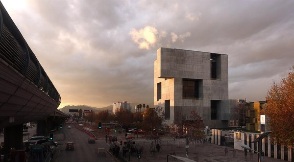 UC Innovation Center, Anacleto Angelini, in Santiago, Chile (2014)  Balancing openness with a sense of privacy and protection, this structure juxtaposes large, deep voids with an opaque, Brutalist facade.