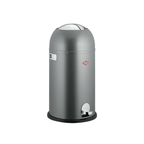 Kickmaster trash can by Wesco, $280  The German manufacturer has been making kitchenware since 1867. We like the bullet-shaped update to its sturdy sheet-steel line.