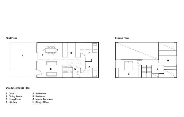 Stradwick House Plan  A    Deck  B    Dining Room  C    Living Room  D    Kitchen  E    Bathroom  F    Bedroom  G    Master Bedroom  H    Study-Office