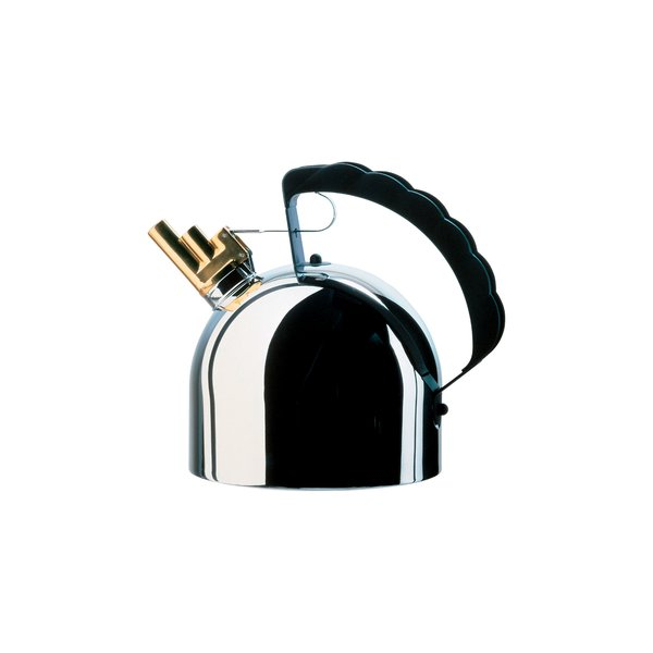 9091 Kettle by Richard Sapper for Alessi  Subverting the anxiety-inducing noise produced by typical kettles, Sapper's 1983 design includes a brass whistle that emanates a harmonic pitch.