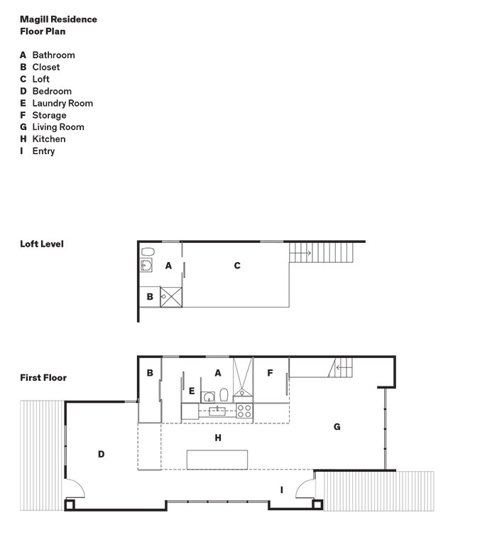 Magill Residence Floor Plan  A    Bathroom  B    Closet  C    Loft  D    Bedroom  E    Laundry Room  F    Storage  G    Living Room  H    Kitchen  I    Entry  Photo 11 of 12 in A Versatile House Fulfills All This Musician's Needs