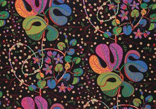 Teheran, a textile still available from Svenskt Tenn, created between 1943 and 1945 but not printed until 1991.