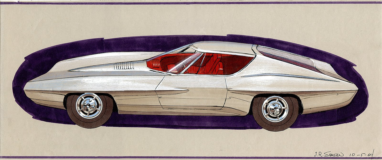 John Samen, Design for a Plymouth Barracuda, 1964.  Photo 2 of 7 in When the Future Had Fins: Fantastical Vintage Auto Drawings