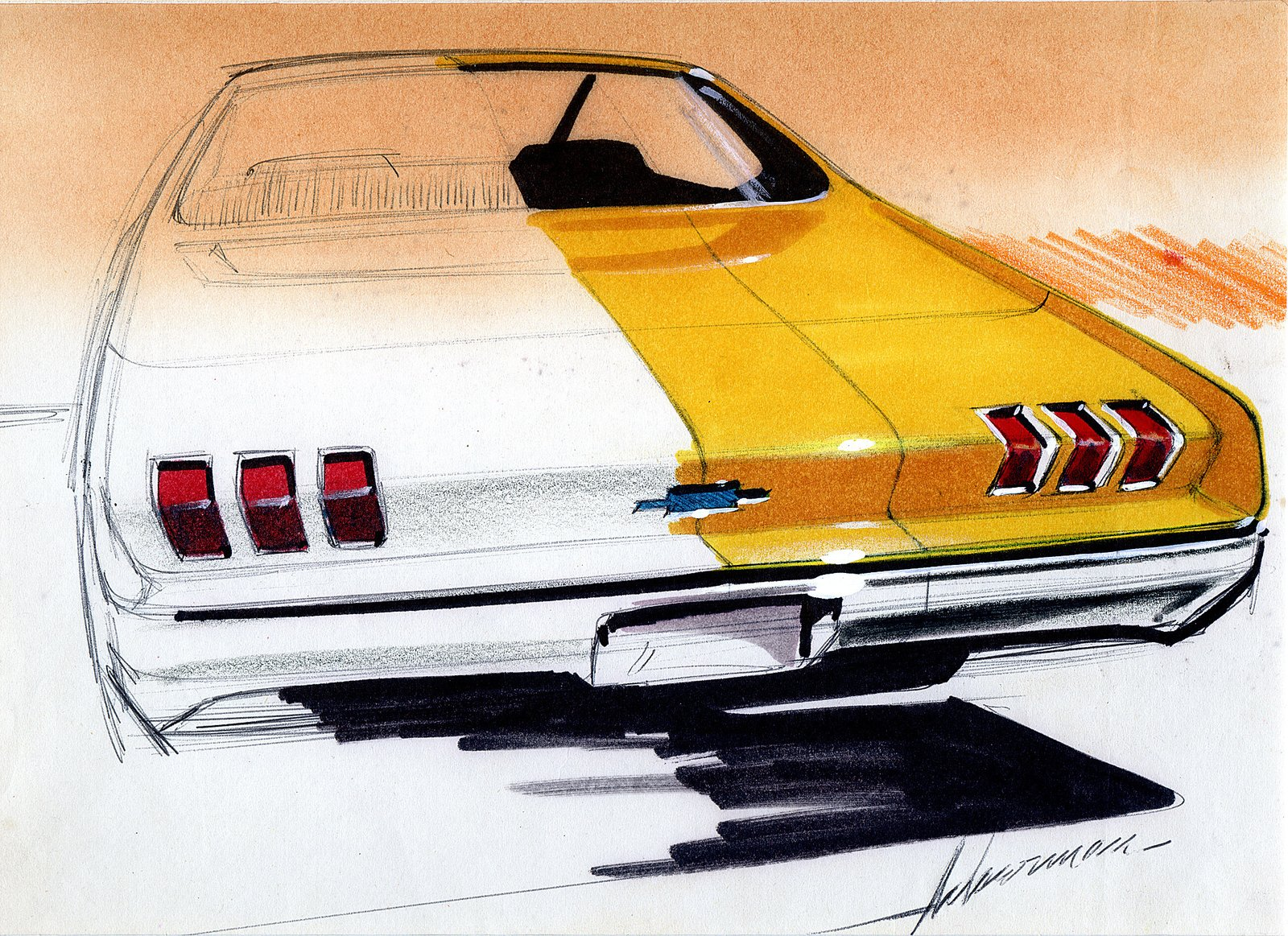 Robert Ackerman, Design for Chevrolet, 1965.  Photo 3 of 7 in When the Future Had Fins: Fantastical Vintage Auto Drawings