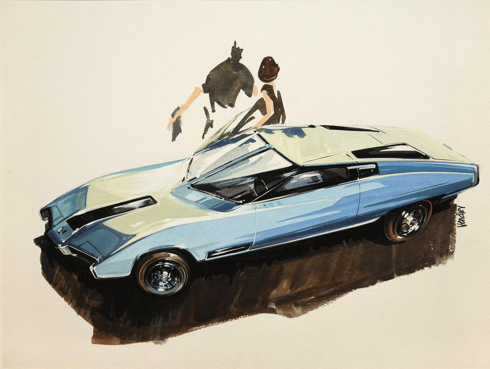 Ken Vendley, Design for Concept Car, 1959.  Photo 4 of 7 in When the Future Had Fins: Fantastical Vintage Auto Drawings