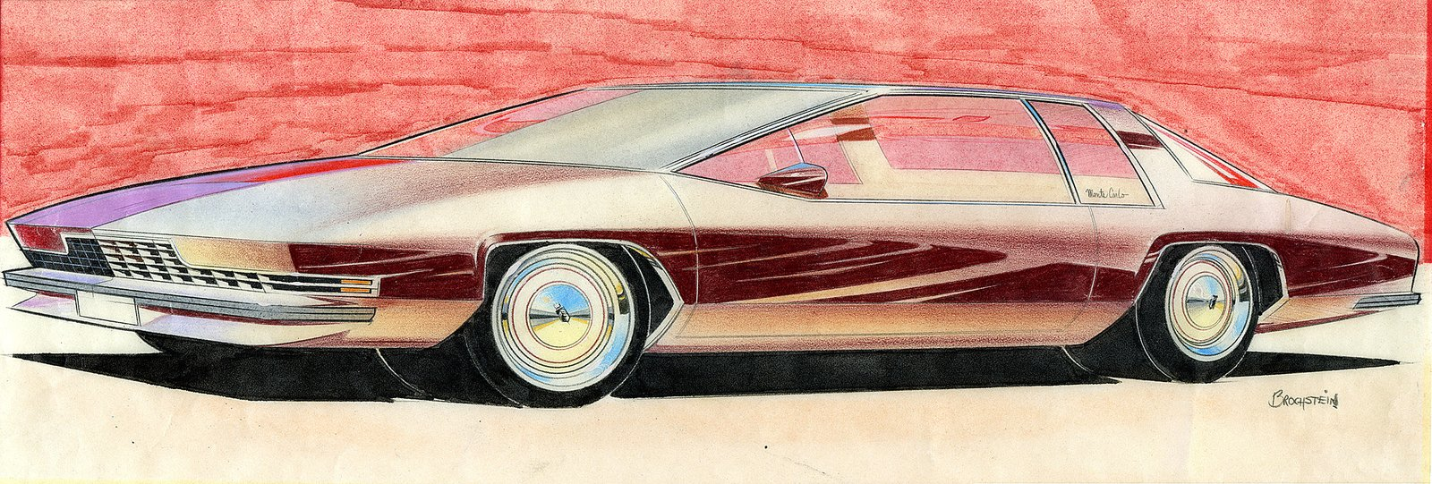 Terry Brochstein, Design for Chevrolet Monte Carlo, c. 1970.  Photo 5 of 7 in When the Future Had Fins: Fantastical Vintage Auto Drawings