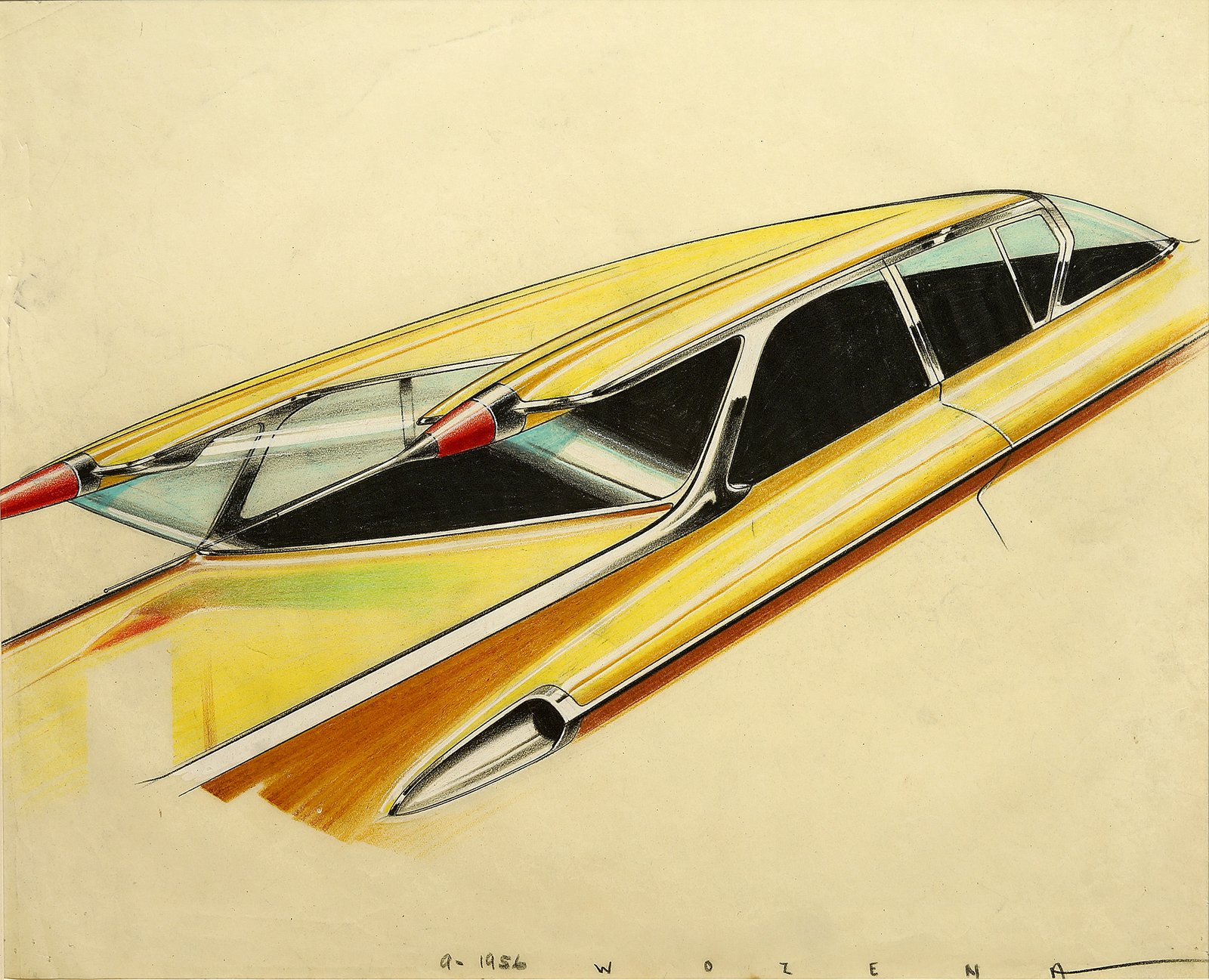 Pete Wozena, Roofline study, c. 1955.  Photo 7 of 7 in When the Future Had Fins: Fantastical Vintage Auto Drawings