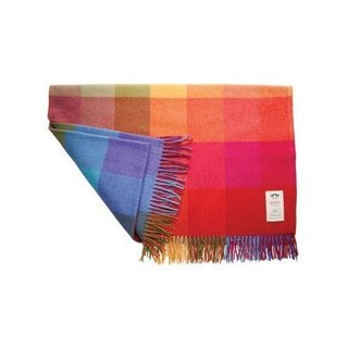 Woven at the Avoca Mill in Ireland, the WR73 Large Wool Throw is an instant brightening accent to a sofa or bed. The throw is crafted from pure new lambswool and features a bold rainbow check pattern and multicolored fringe detailing, perfect for adding a bit of cheer to an interior.