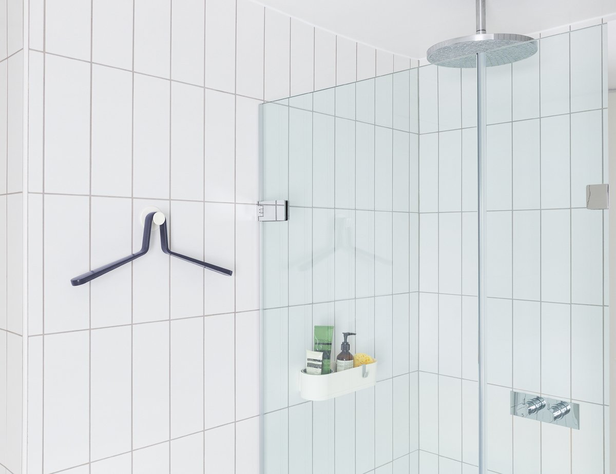 The Sabi Space line designed by MAP includes a caddy ($60) and hanger ($50).  Photo 4 of 6 in Universally Easy Bathroom Accessories Ideal for Renovators of All Ages