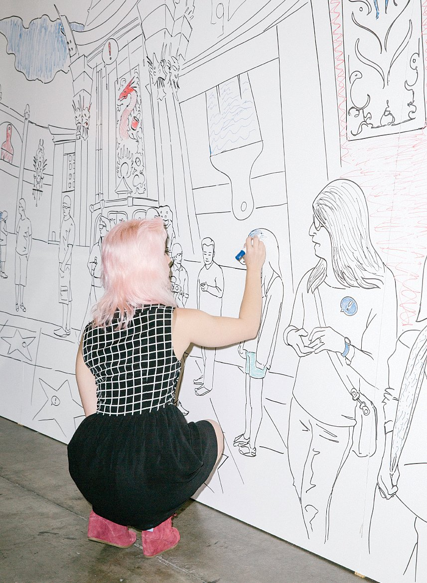 A visitor works on IdeaPaint's dry-erase coloring wall.  Photo 11 of 13 in 13 of the Biggest Hits from Dwell on Design Los Angeles 2015