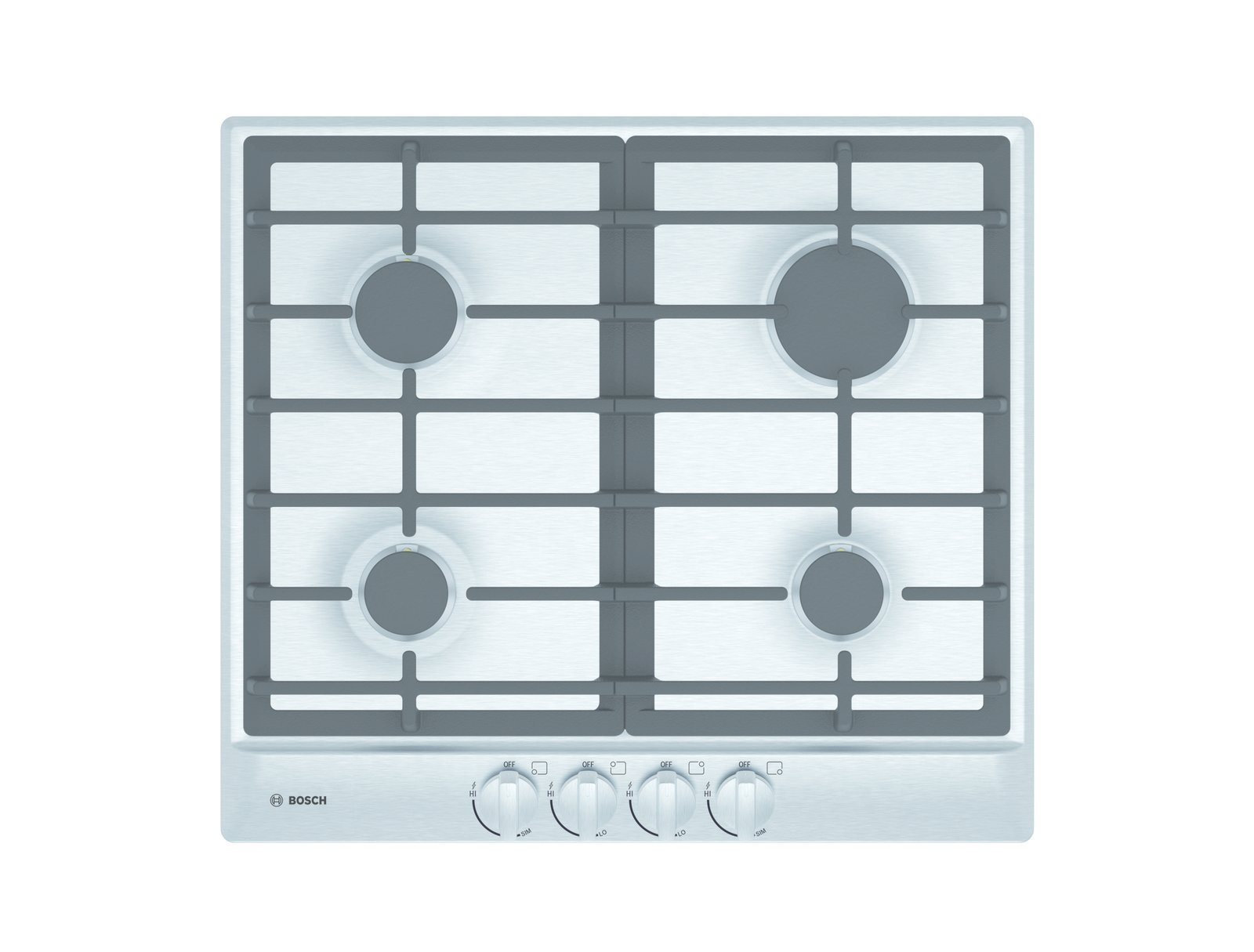 """The new Bosch 24"""" gas cooktops, designed especially for small spaces, include a 11,500 BTU burner, one simmer, and two medium burners.  Search """"7 small spaces incredible kitchens"""" from Kitchen and Bath Innovations We're Excited to See at KBIS and IBS 2015"""