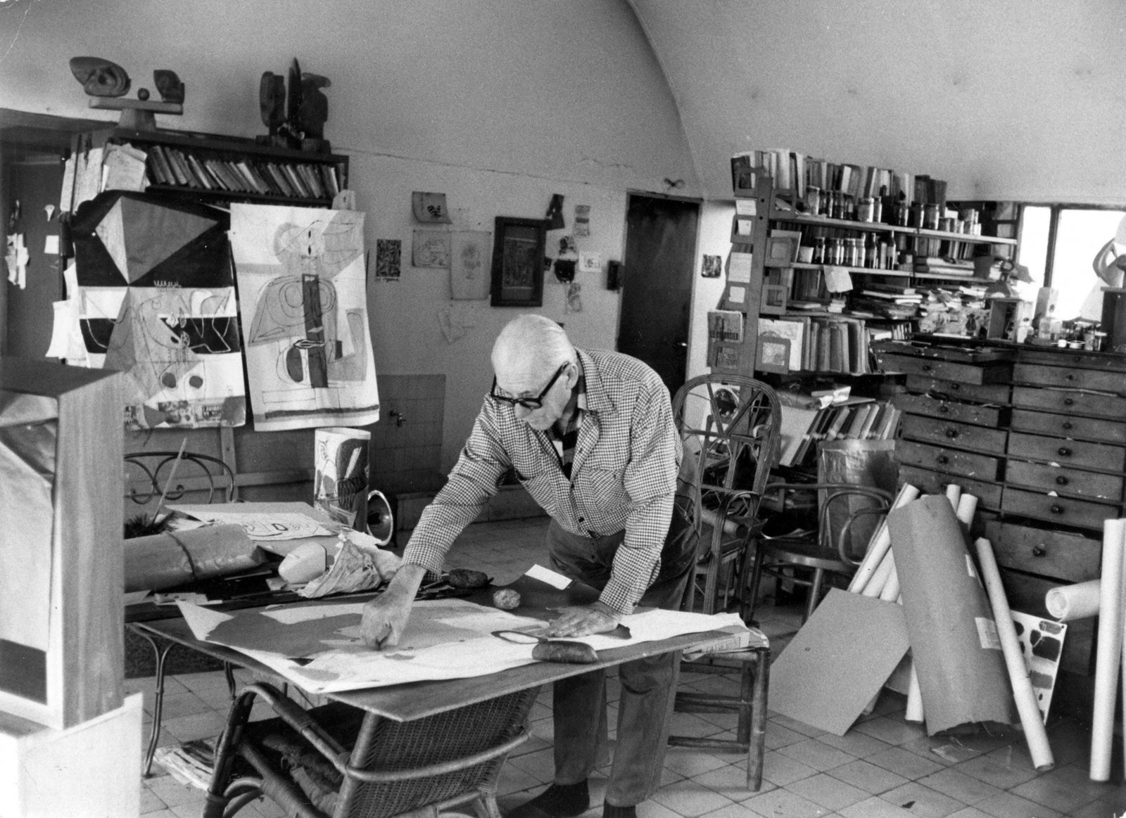 Le Corbusier in his apartment and studio in Paris, France.  Photo 8 of 28 in Here's How to Pronounce the Names of 28 Famous Designers and Architects from The Getty Foundation's Modern Architecture Conservation Initiative