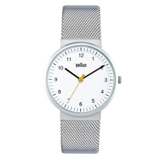 The BN-31 Women's Watch from Braun is a simple, refined watch. A reissue of the original design by Dieter Rams and Dietrich Lubs, the analog watch features a white face with a bold yellow second hand. The 33mm case and stainless steel mesh band is unobtrusive and will complement a variety of occasions. The BN-31 is a modern classic that a friend or loved one is sure to wear every day.