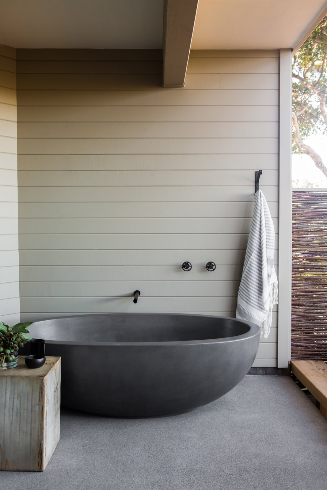 Outdoor and Hot Tub Pools, Tubs, Shower Concreteworks cast the custom outdoor soaking tub.  Photo 10 of 40 in 40 Modern Bathtubs That Soak In the View from A Serene Hotel in Carmel, California