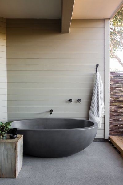 Concreteworks cast the custom outdoor soaking tub.