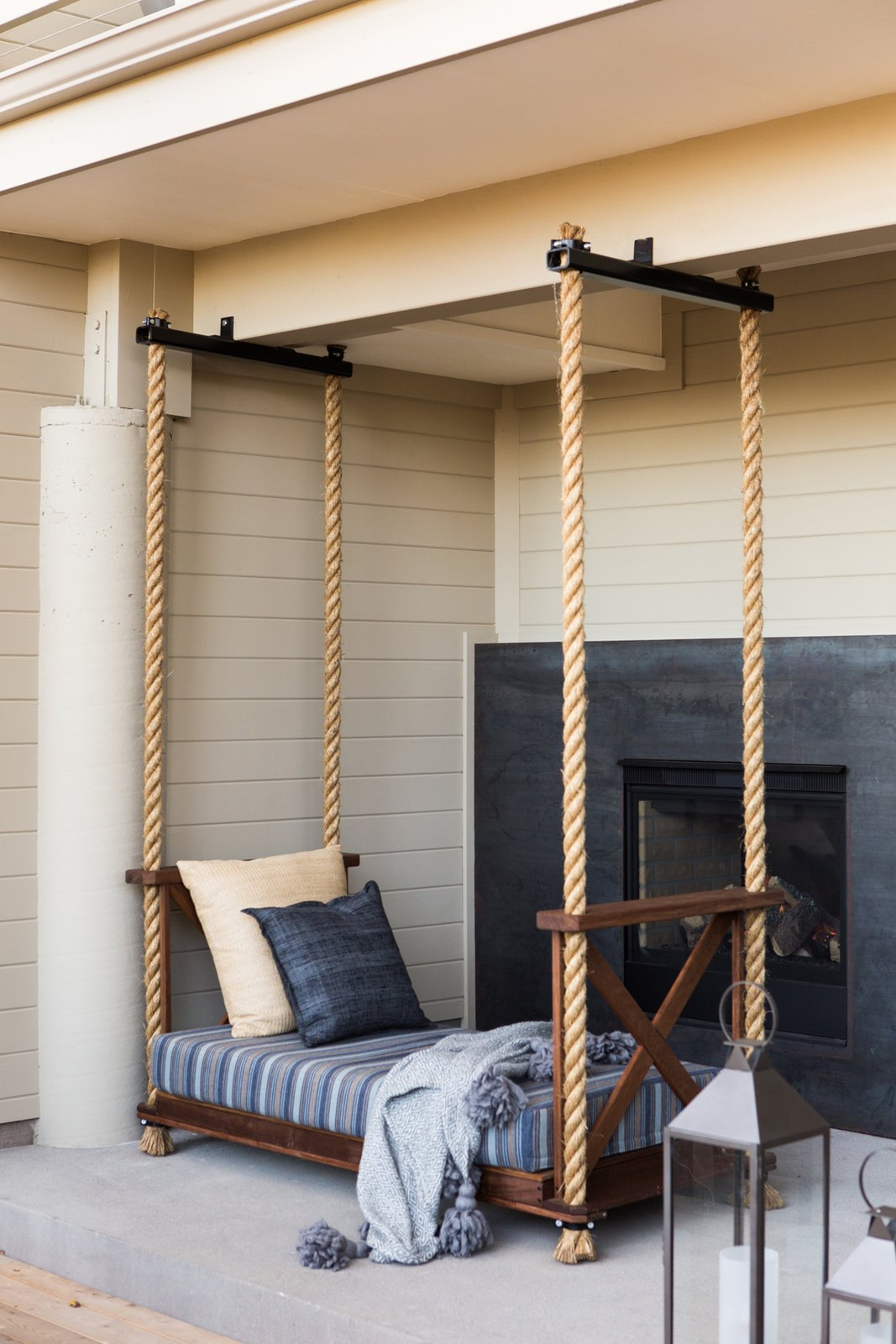 "Hollis designed the custom outdoor bed, which is suspended by ropes. ""We hope that visitors come away relaxed and refreshed and have the feeling they had the one-of-kind experience of the valley,"" she says.  Bedrooms by Dwell from A Serene Hotel in Carmel, California"