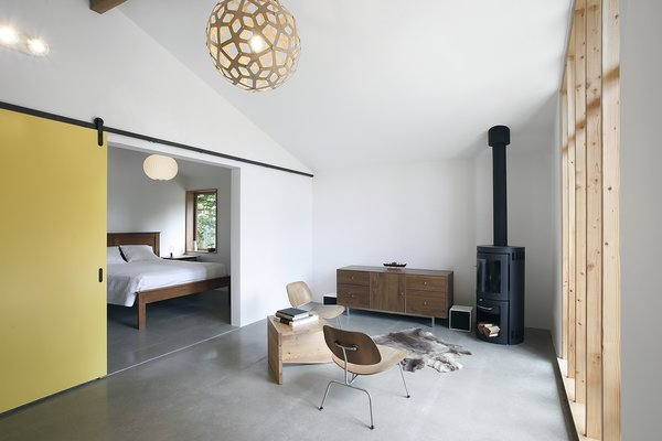 The clients selected a Coral pendant light by David Trubridge Design for the center of the room. Their souvenir from Norway, a reindeer pelt, is spread out in front of Eames Molded Plywood Lounge Chairs with metal bases from Herman Miller. The wood-burning stove is a Monet from HWAM.