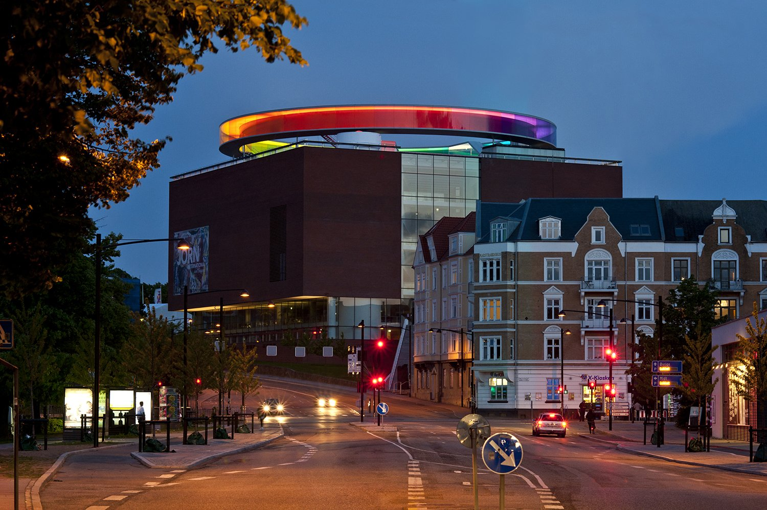 """Your Rainbow Panorama,"" Olafur Eliasson, 2006-2011.  Eliasson's team created a 360-degree walkway above the ARoS Aarhus Kunstmuseum in Denmark, which provides panoramic views of the surrounding city, filtered through colored glass that forms a rainbow loop.  Eight of Our Favorite Works by Artist Olafur Eliasson by Allie Weiss"