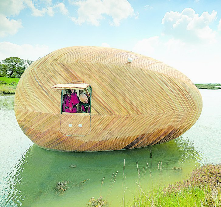 Exbury Egg, PAD Studio and Stephen Turner, 2013  Constructed with traditional yacht-building techniques, this 20-foot-long floating oval on an inlet in southern England functions as a self-sufficient studio and home for artist Stephen Turner. His work, which is inspired by water, relies on data he collects here on the rising and ebbing tides.  Independence and Mobility from Seriously Tiny (and Slightly Strange) Hangouts That Push the Limits of Micro-Living