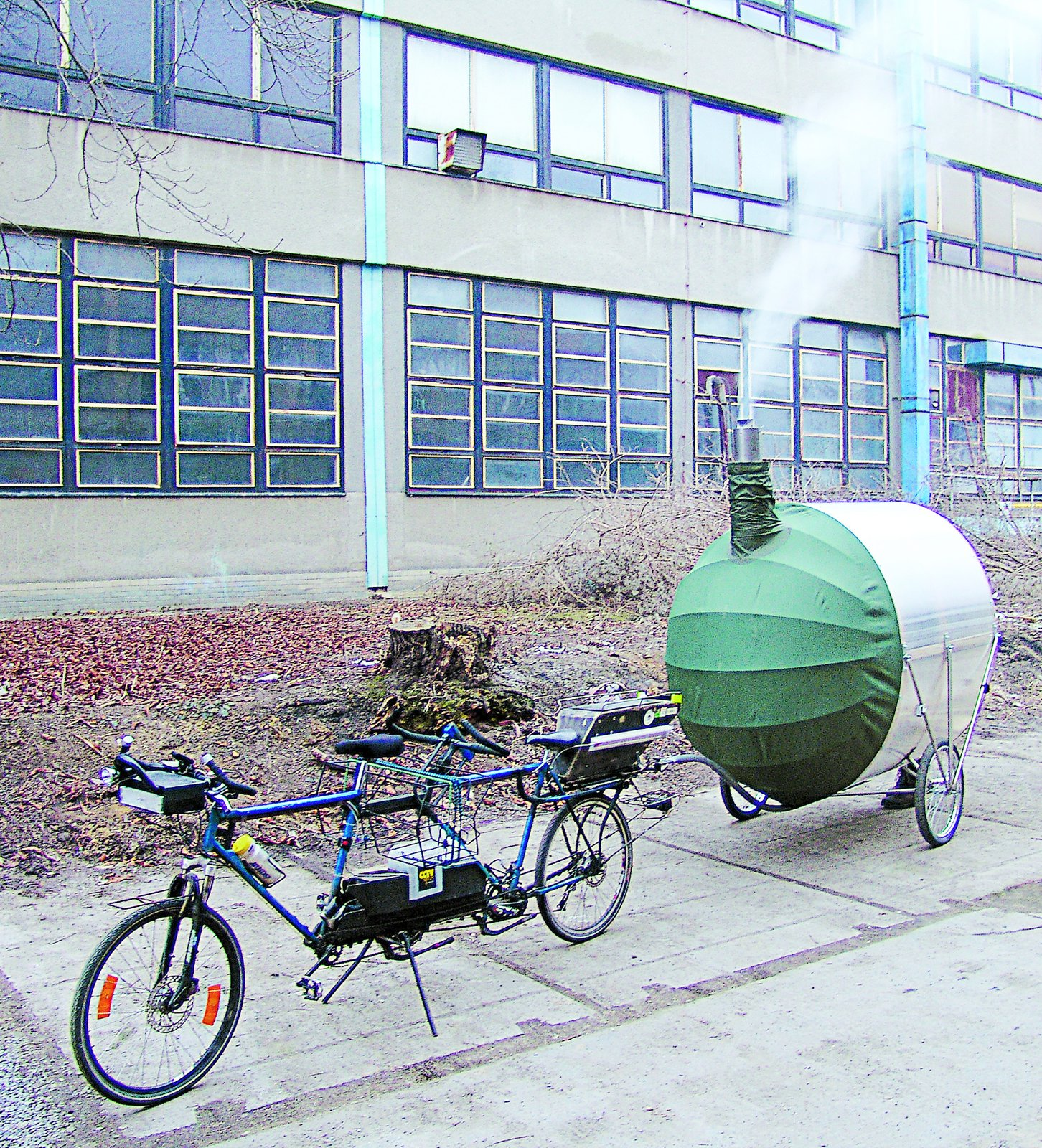 Bicycle Sauna, H3T Architects, 2011  Equipped with the necessary hookups to tow behind a tandem bike, this richshaw-like contraption is a sauna that, amazingly, can fit six. Heat is generated by an internal fireplace and trapped by the polycarbonate hood.  Independence and Mobility from Seriously Tiny (and Slightly Strange) Hangouts That Push the Limits of Micro-Living