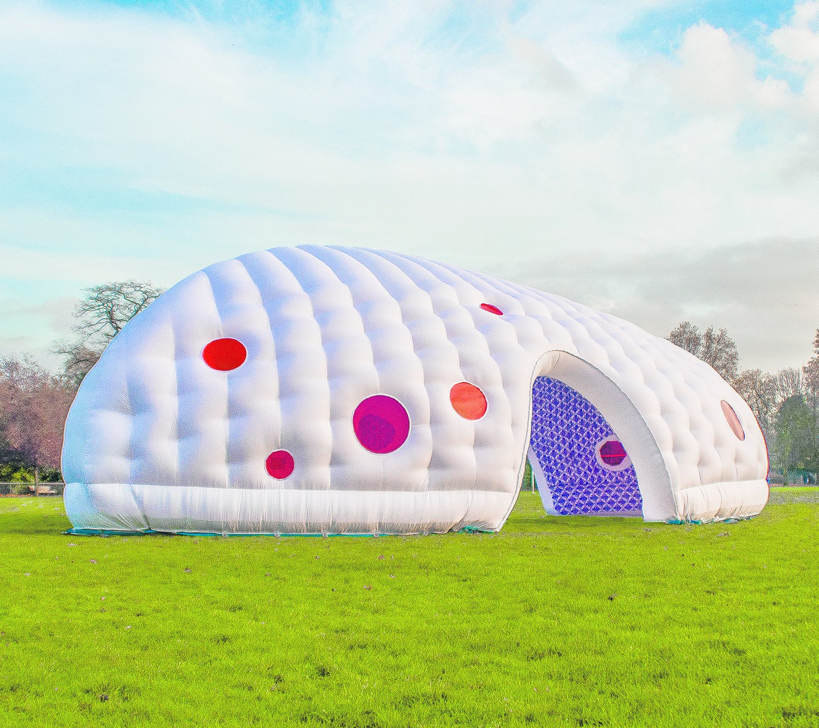 Inflatable Space, Penttinen Schöne, 2010  Commissioned as an interactive arts project in Essex, England, this swollen, whimsical structure is now used as a kid-friendly pavilion for a housing estate.  Seriously Tiny (and Slightly Strange) Hangouts That Push the Limits of Micro-Living by Luke Hopping