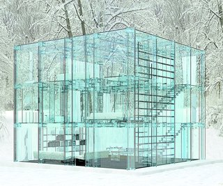 Glass House, Santambrogiomilano, 2012  All glass houses privilege their surroundings over themselves, this Milanese one especially. Its petite envelope, which manages to fit three floors, makes it practically vanish into the forest.