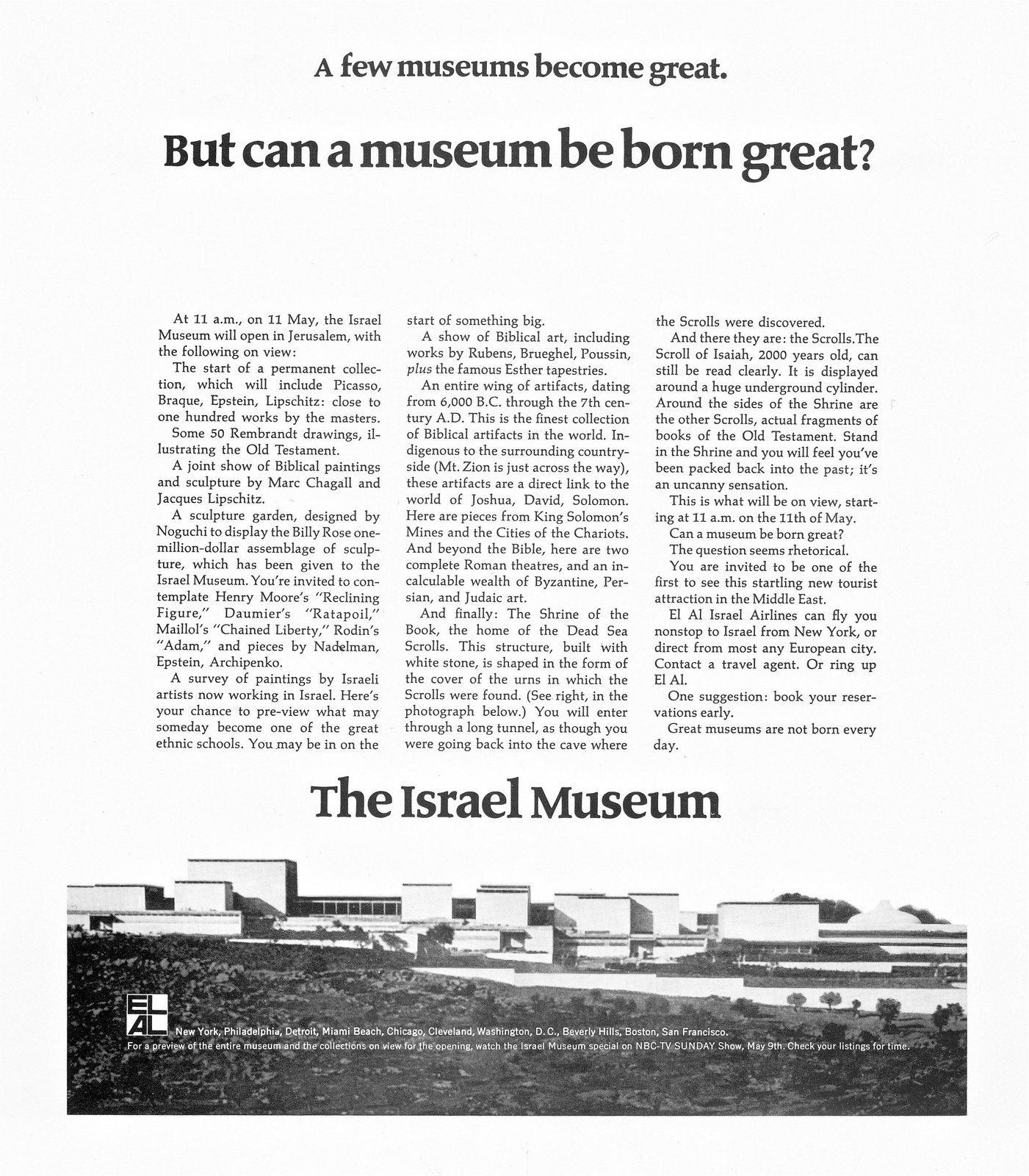 An advertisement from 1965 promotes the new museum.  This is What Design Looked Like in Israel in 1965 by Allie Weiss