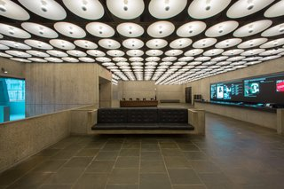 Subtle changes were made to the ground-floor lobby, with an eye towards retaining the building's natural patina while clarifying the original vision of architect Marcel Breuer, who completed the structure in 1966.