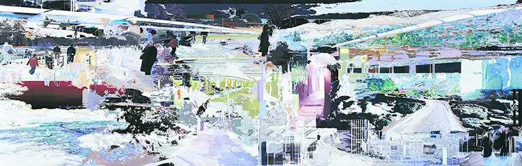 Corinne Wasmuht, Here Today, Gone Tomorrow, oil on wood, 2007.  In her large-scale oil paintings, artist Corinne Wasmuht layers found images of urban landscapes until they break apart into pixelated abstraction.  Photo 6 of 8 in When Art and Architecture Meet, the Results Can Be Wild