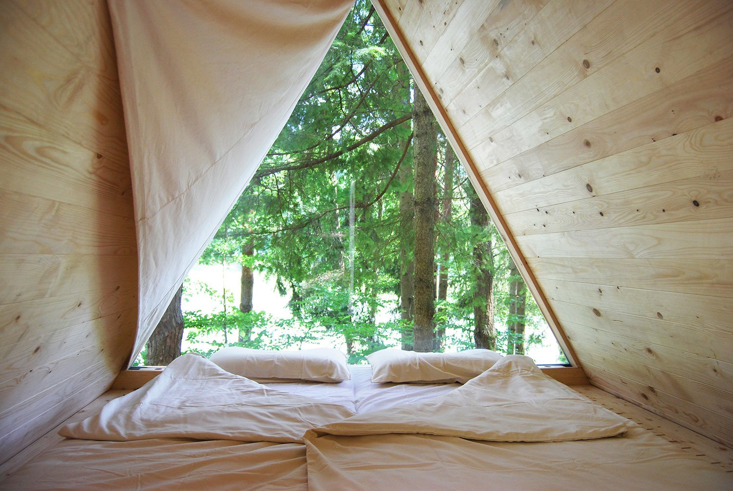 Bedroom and Bed The units don't even require foundations—simple ground screws from Krinner are enough to support them.  The Prefab Glamping Experience You've Been Waiting For by Zachary Edelson