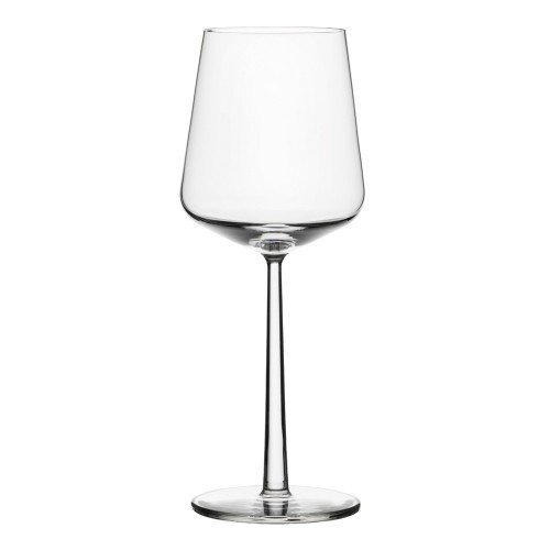 """Essence Red Wine Glass  The Essence family of glassware was designed by Zurich-based designer Alfredo Häberli for Iittala. With personal experience in the restaurant industry guiding the designer's decisions, a perfect blend of form and function emerged. Each glass is formed to suit the scientific needs of the liquid it contains, but with the utmost attention to aesthetics. Notes the designer, """"The idea for the glass range was to create a balance between tradition and modernity, between celebration and daily use, a balance with one and different uses."""""""