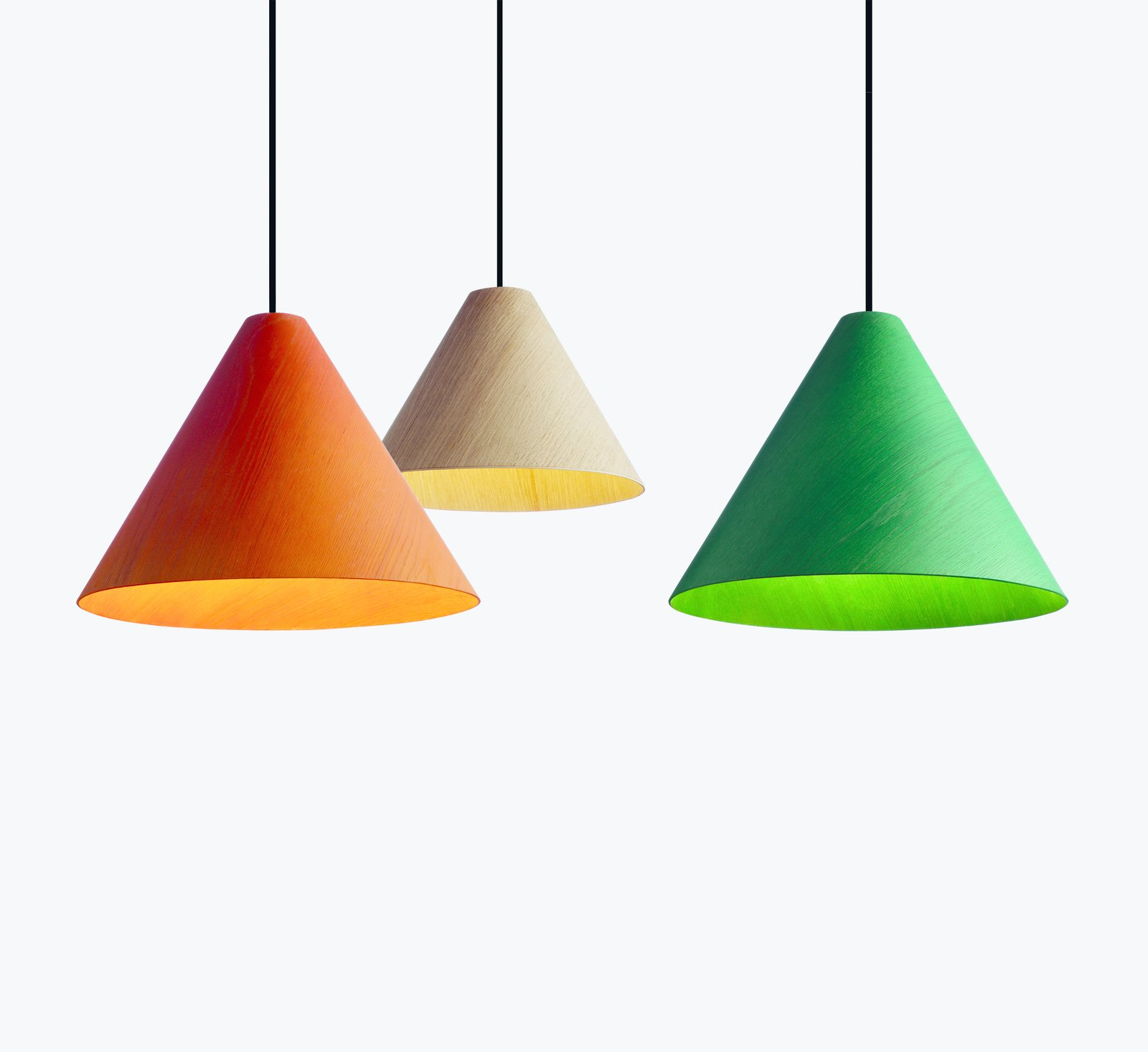 Milan saw the launch of wrong.london, an offshoot of HAY that's run by creative director Sebastian Wrong. The lighting-focused division released these veneered-oak lampshades, dubbed 30degree, among other designs.  60+ Modern Lighting Solutions by Dwell from A Big Hello to These New HAY Launches