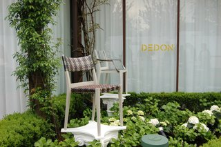 One of the last stops of the day was Dedon, where Sam sat down to interview designer Philippe Starck about his new outdoor collection for the company.