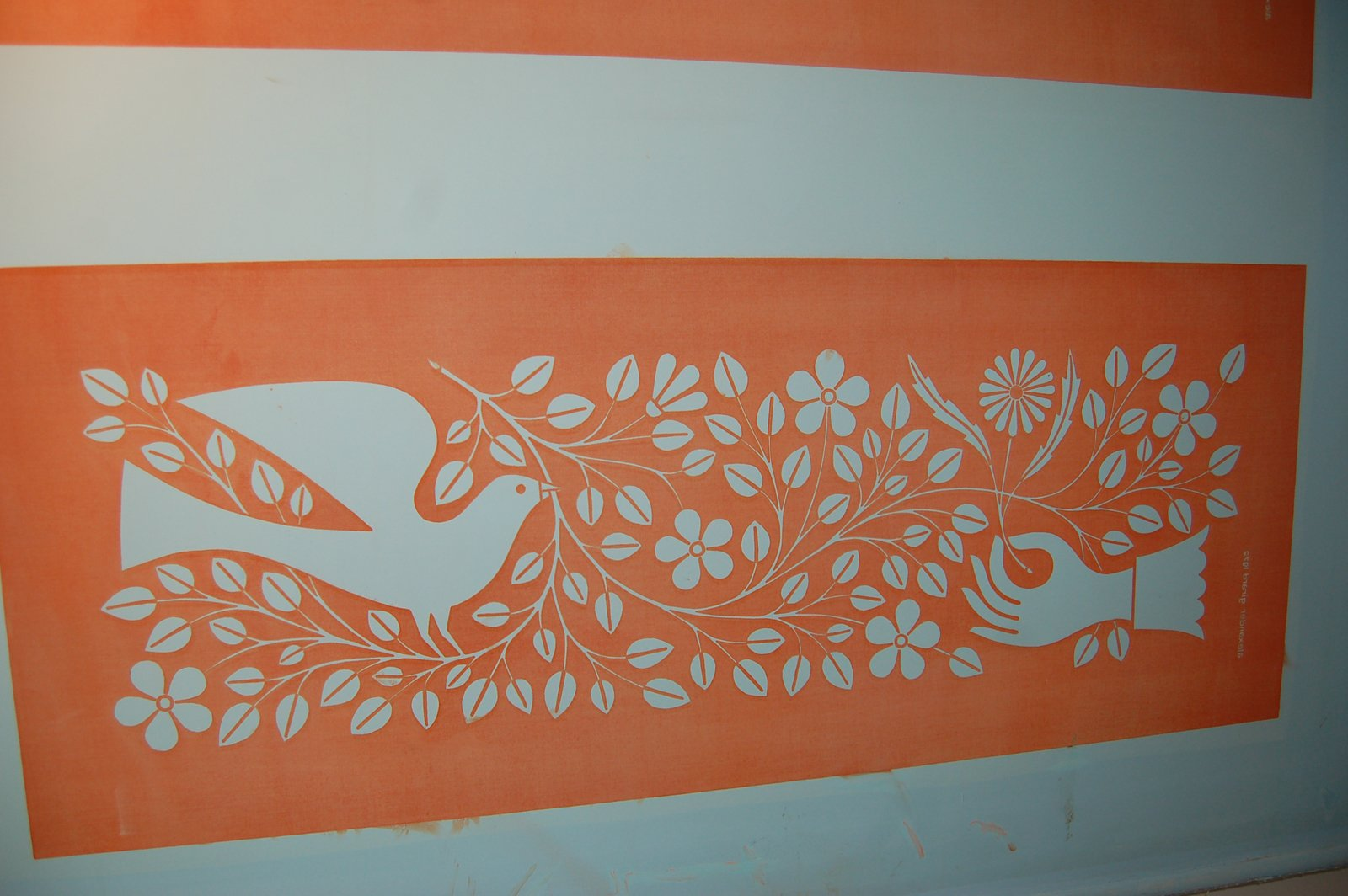 """We happened upon this original screen of a design by Alexander Girard, called """"Hand & Dove"""", which was created for Herman Miller in 1971. It was used as a part of the company's """"environmental enrichment panels""""—i.e. graphical fabric embellishments that fit into their Action Office system.  Inside the Herman Miller Headquarters by Amanda Dameron"""