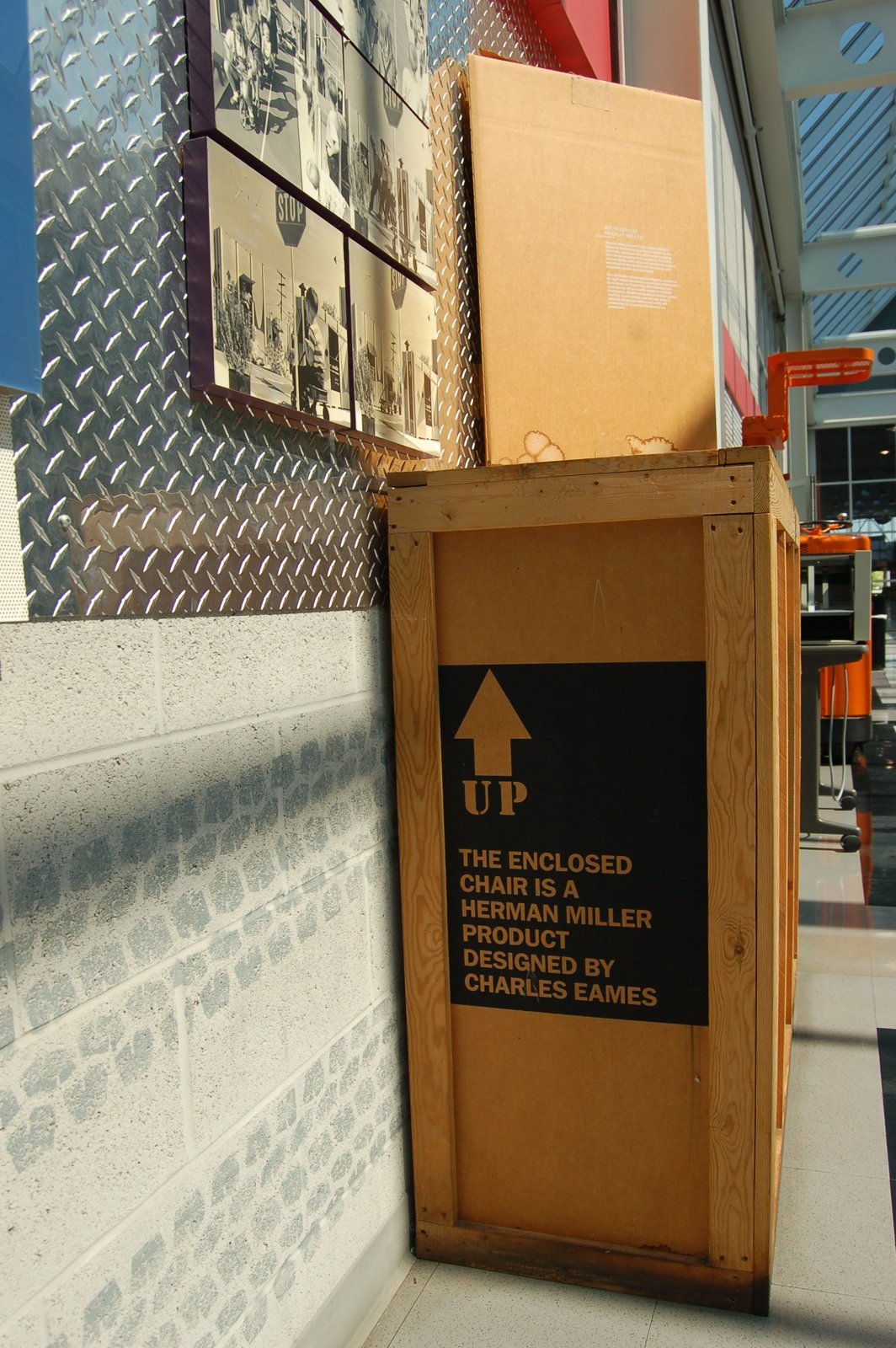 An original packing crate.  Inside the Herman Miller Headquarters by Amanda Dameron