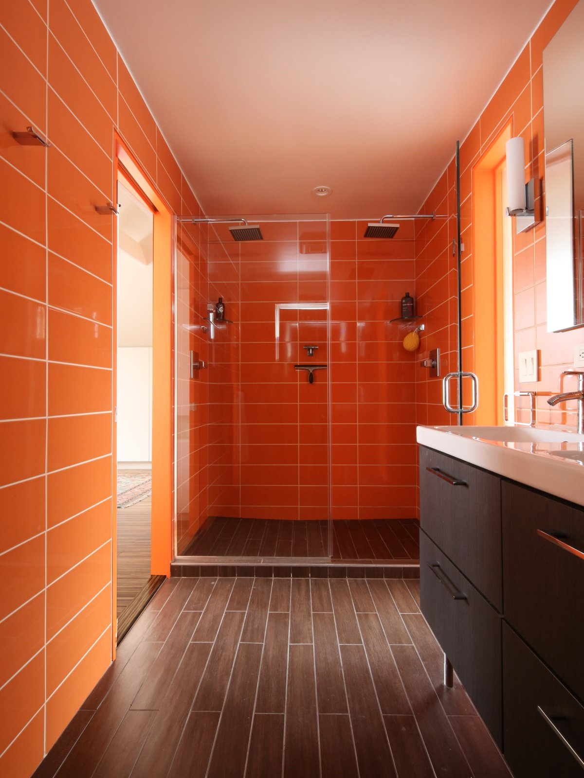 Bath Room, Ceramic Tile Wall, Full Shower, Ceramic Tile Floor, and Enclosed Shower #bath #spa #bath&spa #modern #interior #interiordesign #color #shower #renovation #walltile #rainbowazul #citruscolor #clad #ceramicplank #ikea   Photo 4 of 22 in Bath & Spa Intrigue